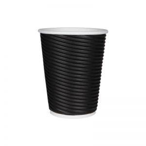 Χάρτινο ποτήρι μαύρο ripple 12oz - τριπλό τοίχωμα