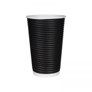 Χάρτινο ποτήρι μαύρο ripple 16oz - τριπλό τοίχωμα