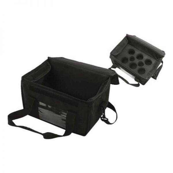 Ισοθερμική τσάντα delivery καφέ 6+2 θέσεων μαύρη