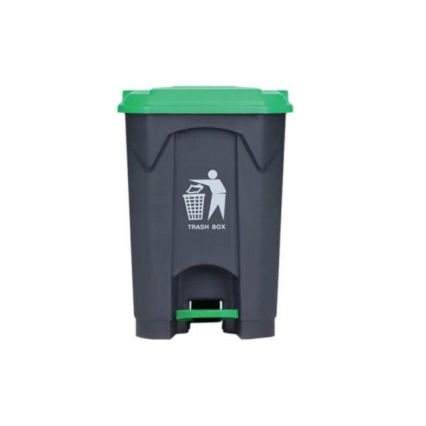 Κάδος απορριμάτων με πεντάλ 45lt με πράσινο καπάκι